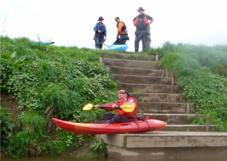 Kayaker about to seal launch