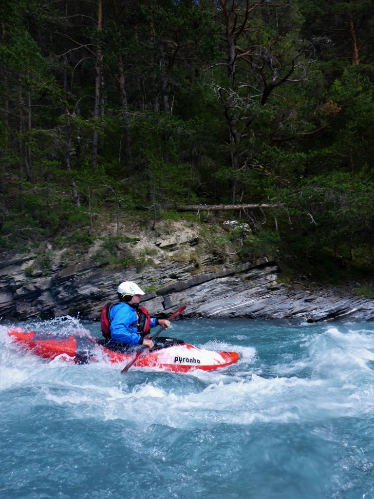 kayaker in the Alps